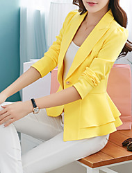 cheap -Women's Daily / Work Basic / Street chic Spring / Fall Regular Blazer, Solid Colored Notch Lapel Long Sleeve Polyester / Others Ruffle Yellow