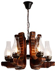 cheap -JLYLITE 6-Light Industrial Chandelier Uplight Painted Finishes Wood Metal Glass Mini Style 110-120V / 220-240V Bulb Not Included / E12 / E14 / FCC / VDE