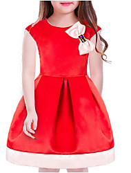 cheap -Kids Girls' Casual Solid Colored Short Sleeve Dress Red