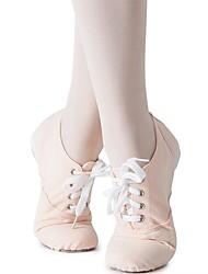 cheap -Girls' Dance Shoes Canvas Jazz Shoes Sneaker Flat Heel Customizable Almond / Indoor / Practice / EU39