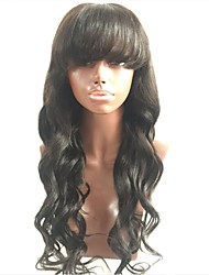cheap -Virgin Human Hair Full Lace Wig Layered Haircut With Bangs style Malaysian Hair Wavy Body Wave Black Wig 130% Density with Baby Hair For Black Women Women's Short Medium Length Long Human Hair Lace