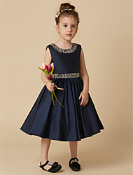 cheap -A-Line Knee Length Pageant Flower Girl Dresses - Taffeta Sleeveless Jewel Neck with Beading / Crystal Brooch