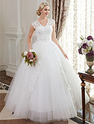cheap -Ball Gown Wedding Dresses V Neck Floor Length Satin Lace Over Tulle Cap Sleeve Romantic Illusion Detail with Crystal Sequin 2021