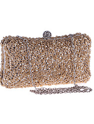 cheap -Women's Sequin Polyester Evening Bag Solid Color Black / Champagne / Silver