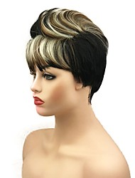cheap -Synthetic Wig Straight Layered Haircut Wig Short Black / Gold Synthetic Hair Women's African American Wig Black StrongBeauty