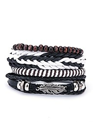 cheap -4pcs Men's Wrap Bracelet Leather Bracelet European Fashion Leather Bracelet Jewelry Black For Gift Daily