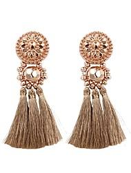 cheap -Women's Drop Earrings fan earrings Hanging Earrings Tassel Ladies Tassel Fashion Elegant Earrings Jewelry Light Pink / Rose Gold / Dark Green For Gift Daily