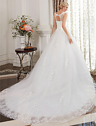 cheap -Ball Gown Scoop Neck Cathedral Train Satin / Lace Over Tulle Regular Straps Made-To-Measure Wedding Dresses with Beading / Lace 2020