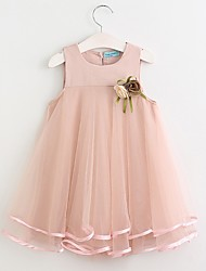cheap -Toddler Girls' Daily Solid Colored Sleeveless Dress Blushing Pink / Cute
