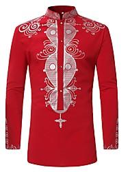 cheap -Men's Daily Shirt - Tribal Print Standing Collar Red / Long Sleeve
