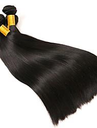 cheap -3 Bundles Brazilian Hair Straight Human Hair Natural Color Hair Weaves / Hair Bulk One Pack Solution Human Hair Extensions 8-28 inch Natural Color Human Hair Weaves Best Quality Cool Human Hair / 8A