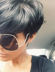 cheap -Human Hair Capless Wigs Human Hair Wavy Pixie Cut / Short Hairstyles 2019 Natural Hairline Natural Black Machine Made Wig Women's