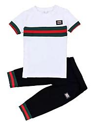 cheap -Toddler Boys' Active Daily Sports Print Print Short Sleeve Regular Regular Cotton Clothing Set White