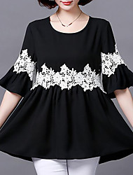 cheap -Women's Daily Holiday Basic Plus Size Loose Blouse - Solid Colored Lace Black / Summer