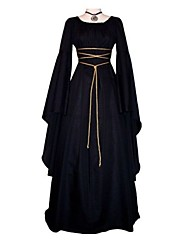 cheap -Cosplay Outfits Medieval Costume Women's Dress Ball Gown Black Vintage Cosplay Long Sleeve Flare Sleeve Ankle Length Long Length