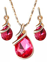 cheap -Women's Sapphire Crystal Jewelry Set Pear Cut Solitaire Drop Ladies Simple Austria Crystal Earrings Jewelry Purple / Red / Blue For Party Daily