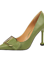 cheap -Women's Heels Stiletto Heel Pointed Toe Minimalism Office & Career Solid Colored PU Almond / White / Black