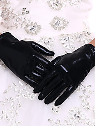 cheap -Faux Leather Wrist Length Glove Bridal Gloves With Black-redCubanHee