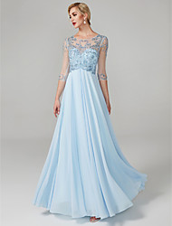 cheap -Ball Gown Elegant & Luxurious Elegant See Through Prom Formal Evening Dress Jewel Neck 3/4 Length Sleeve Floor Length Chiffon with Crystals Beading 2020