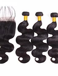 cheap -4 Bundles Hair Weaves Brazilian Hair Wavy Human Hair Extensions Human Hair Unprocessed Human Hair Hair Weft with Closure Natural Black