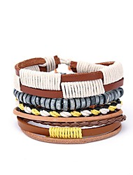 cheap -4pcs Men's Wrap Bracelet European Leather Bracelet Jewelry Yellow For Gift Daily
