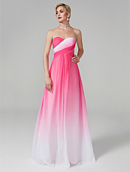 cheap -A-Line Color Changing Elegant Holiday Formal Evening Dress Sweetheart Neckline Sleeveless Floor Length Chiffon with Criss Cross 2021