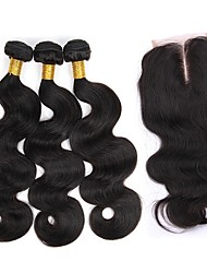 cheap -4 Bundles Hair Weaves Brazilian Hair Body Wave Human Hair Extensions Human Hair Unprocessed Human Hair Gifts Hair Weft with Closure Natural Color with Baby Hair Lace