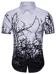 cheap -Men's Daily Holiday Basic Plus Size Shirt - Trees / Leaves White / Short Sleeve / Summer