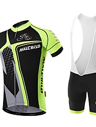 cheap -Malciklo Men's Cycling Jersey with Bib Shorts - White / Black Bike Bib Shorts Jersey Quick Dry Anatomic Design Reflective Strips Sports Mountain Bike MTB Road Bike Cycling Clothing Apparel / Advanced