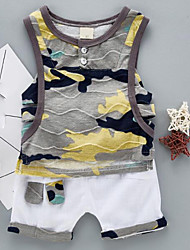 cheap -Baby Boys' Daily Color Block Patchwork / Print Sleeveless Regular Regular Clothing Set Gray / Cute
