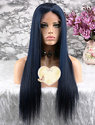 cheap -Remy Human Hair Lace Front Wig Layered Haircut style Brazilian Hair Straight Blue Wig 130% Density with Baby Hair Women's Short Medium Length Long Human Hair Lace Wig Luckysnow