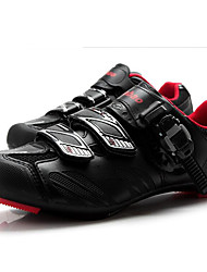 cheap -Tiebao® Road Bike Shoes Carbon Fiber Anti-Slip Cycling Black / Red Men's Cycling Shoes / Hook and Loop