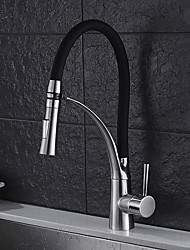 cheap -Modern Black Kitchen faucet - Contemporary / Standing Style Nickel Brushed Pull-out / ­Pull-down Vessel / Brass / Single Handle One Hole