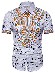 cheap -Men's Daily Holiday Plus Size Shirt - Tribal Print Spread Collar White / Short Sleeve / Summer