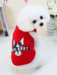 cheap -Dogs Cats Pets Vest Dog Clothes Red Blue Pink Costume Dalmatian Beagle Pug Cotton / Polyester Animal Cartoon Letter & Number Japan and Korea Style Fashion S M L XL XXL