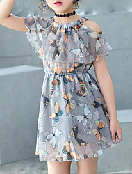 cheap -Kids Girls' Sweet Daily Holiday Beach Butterfly Print Sleeveless Dress Gray / Cotton