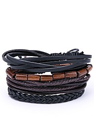 cheap -4pcs Men's Wrap Bracelet Vintage Leather Bracelet Jewelry Black For Daily Street