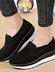 cheap -Women's Loafers & Slip-Ons Creepers Nubuck leather Comfort Spring / Fall Black / Gray / Green
