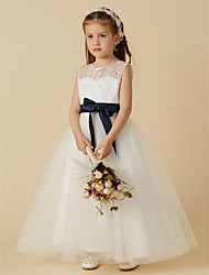 cheap -A-Line Ankle Length Flower Girl Dress - Lace / Tulle Sleeveless Jewel Neck with Bow(s) / Buttons / Sash / Ribbon / First Communion