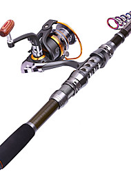 cheap -Fishing Rod and Reel Combo Telespin Rod Carbon Sea Fishing Rod & Reel Combos Telescopic Carbon / Heavy (H)
