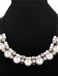 cheap -Women's Cubic Zirconia Statement Necklace Ladies Fashion Imitation Pearl Zircon Alloy White 50 cm Necklace Jewelry For Party / Evening Prom Promise