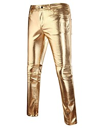 cheap -Men's Street chic / Punk & Gothic / Exaggerated Club Slim Chinos Pants - Solid Colored Spring Fall Gold Black Silver XL XXL XXXL
