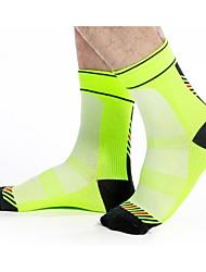 cheap -Compression Socks Ankle Socks Athletic Sports Socks Cycling Socks Men's Cycling / Bike Bike / Cycling Quick Dry Anatomic Design Breathability 1 Pair Stripes Patchwork Nylon Spandex Elastic Black