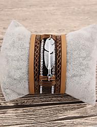Недорогие -Жен. Кожаные браслеты В форме листа Дамы Мода Кожа Браслет Ювелирные изделия Коричневый Назначение Подарок Повседневные