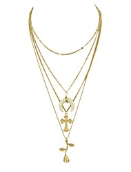 cheap -Women's Layered Necklace Cross Moon Flower Crescent Moon Ladies Alloy Gold 43 cm Necklace Jewelry For Party / Evening School