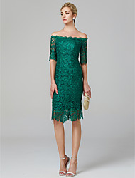 cheap -Sheath / Column Off Shoulder Knee Length Lace Over Satin Minimalist / Green Cocktail Party / Wedding Guest Dress with Lace Insert 2020