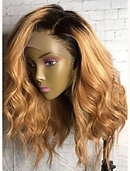 cheap -Virgin Human Hair Lace Front Wig Layered Haircut Ciara style Malaysian Hair Wavy Wig 130% Density with Baby Hair Ombre Hair Dark Roots Women's Short Medium Length Long Human Hair Lace Wig Aili Young