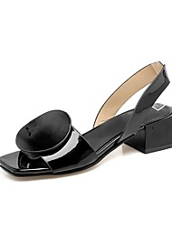 cheap -Women's Shoes Leatherette Spring Fall Comfort Sandals Chunky Heel Peep Toe for Casual White Black