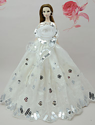 cheap -Doll Dress Dresses For Barbiedoll White Poly / Cotton Dress For Girl's Doll Toy / Kids