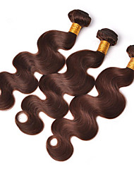 cheap -Brazilian Hair Wavy Virgin Human Hair One Pack Solution Human Hair Extensions Hair Weft with Closure Brown Human Hair Weaves Soft Hot Sale 100% Virgin Human Hair Extensions
